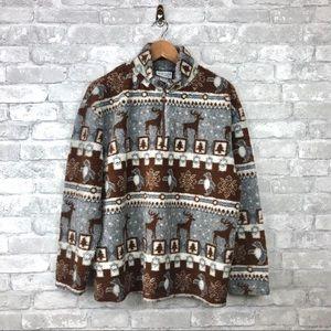 Vintage Teddy Fleece Pullover Quarter Zip Jacket L